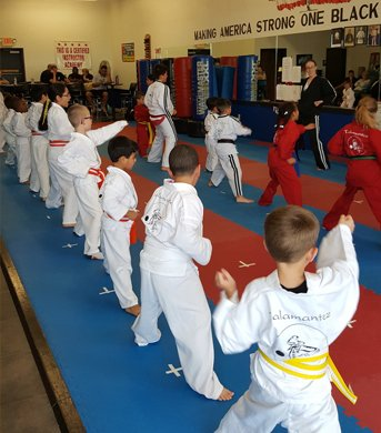 Kids doing Karate Forms